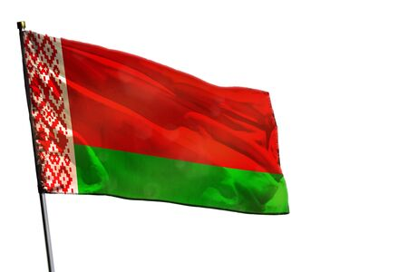 Fluttering Belarus flag isolated on white background.