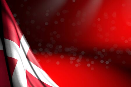 beautiful any celebration flag 3d illustration - illustration of Denmark flag hangs diagonal on red with bokeh and free place for text Banco de Imagens - 134981592