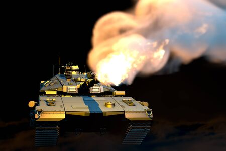 Grey army tank with not real design fighting on dark smoke background, isolated detailed heroism concept - military 3D Illustration