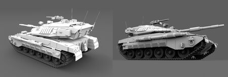 detailed white modern tank with fictive design isolated on grey background, honour concept - military 3D Illustration Imagens - 134495375