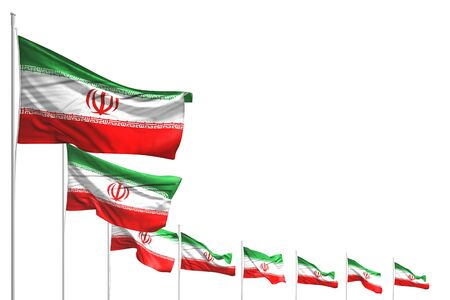 beautiful labor day flag 3d illustration  - many Iran flags placed diagonal isolated on white with space for content
