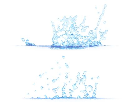 two side views of pretty water splash - 3D illustration, mockup isolated on white - creative illustration Banco de Imagens - 134981605