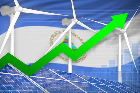 Nicaragua solar and wind energy rising chart, arrow up  - environmental energy industrial illustration. 3D Illustration Banco de Imagens