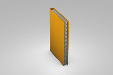 3d illustration of object - high resolution golden closed book, knowledge concept highlighted isolated on grey background