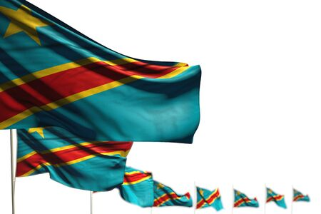 cute Democratic Republic of Congo isolated flags placed diagonal, photo with bokeh and place for your content - any holiday flag 3d illustration Standard-Bild - 134618473