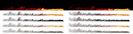 Speed concept - Isolated fires on trail of fast moving object rendered with white and black smoke on various backgrounds, 3D illustration of objects Stock Photo