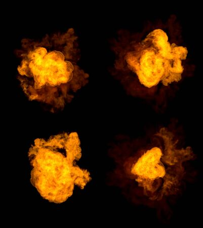 highly detailed bomb blasts - set of 4 various pictures of fire explosion isolated on black background, 3D illustration of objects