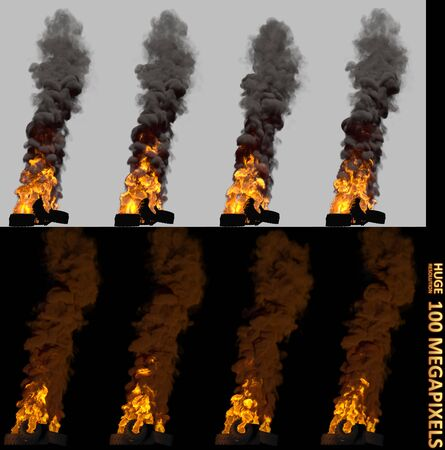 disorder concept, detailed pile or barricade of burning car tires isolated - 3D illustration of objects Imagens