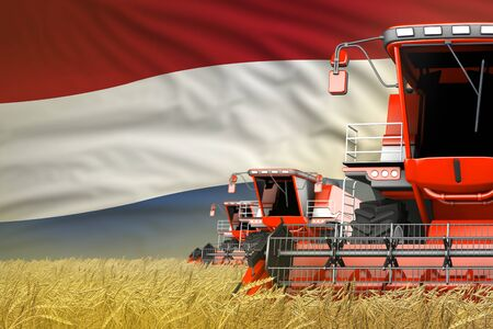industrial 3D illustration of three red modern combine harvesters with Netherlands flag on grain field - close view, farming concept 写真素材