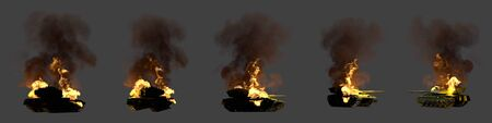 Military 3D Illustration for patriotic concept - isolated green modern tank with not real design burning damaged on dark grey background