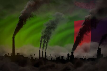 dense smoke of industry pipes on Zambia flag - global warming concept, background with place for your logo - industrial 3D illustration