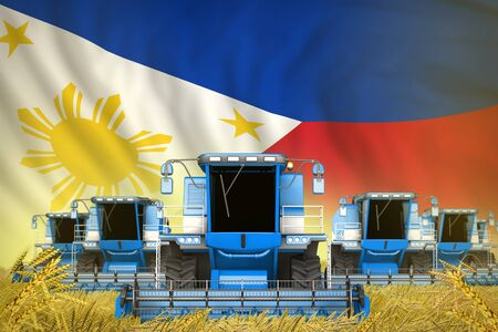 many blue farming combine harvesters on wheat field with Philippines flag background - front view, stop starving concept - industrial 3D illustration
