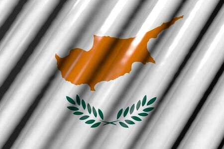 nice shiny - looks like plastic flag of Cyprus with big folds - any occasion flag 3d illustration