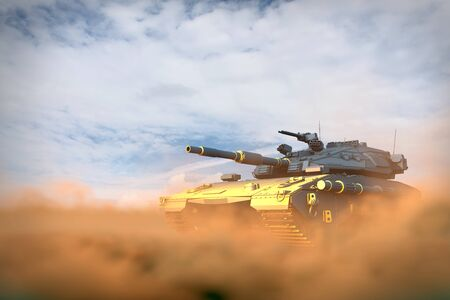 Military 3D Illustration of heavy tank with fictive design in fight fire in desert, high detail heroism concept Stok Fotoğraf - 134755384