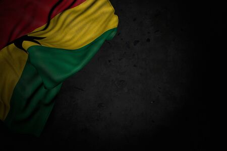 beautiful dark illustration of Ghana flag with large folds on black stone with free space for content - any occasion flag 3d illustration