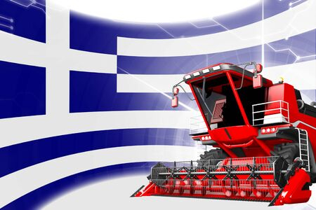 Digital industrial 3D illustration of red advanced farm combine harvester on Greece flag - agriculture equipment innovation concept