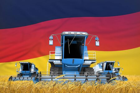 4 light blue combine harvesters on wheat field with flag background, Germany agriculture concept - industrial 3D illustration