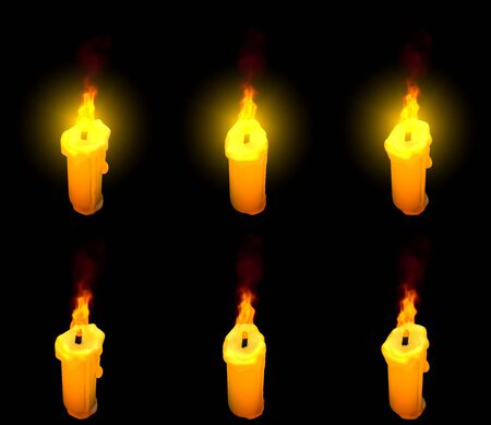 pretty glowing thin yellow wax candle isolated render with and without highlight - hanukkah concept, 3D illustration of object Banco de Imagens