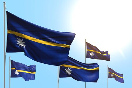 cute feast flag 3d illustration  - 5 flags of Nauru are wave on blue sky background