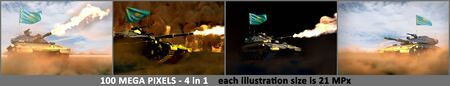 4 high resolution images of heavy tank with design that not exists and with Kazakhstan flag - Kazakhstan army concept, military 3D Illustration Stok Fotoğraf - 134794014