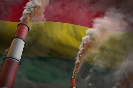 Bolivia pollution fight concept - two big plant pipes with heavy smoke on flag background, industrial 3D illustration Stok Fotoğraf - 134794018