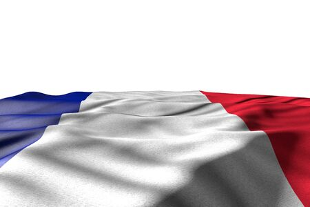 nice holiday flag 3d illustration - mockup image of France flag lying flat with perspective view isolated on white with place for your content Stok Fotoğraf - 134794022