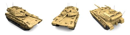 Military 3D Illustration of sand color army tank with design that not exists, high resolution tank fight concept isolated on white background Stok Fotoğraf - 134794023