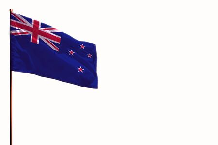 Fluttering New Zealand flag isolated, mockup with the place for your text on white background.