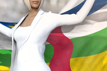 sexy business woman is holding Central African Republic flag in her hands behind her on the office building background - flag concept 3d illustration Stok Fotoğraf - 134794061