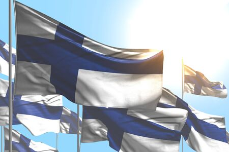beautiful many Finland flags are wave on blue sky background - any occasion flag 3d illustration