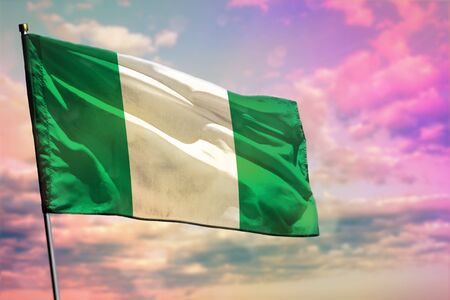 Fluttering Nigeria flag on colorful cloudy sky background. Nigeria prospering concept. Stok Fotoğraf - 134794089