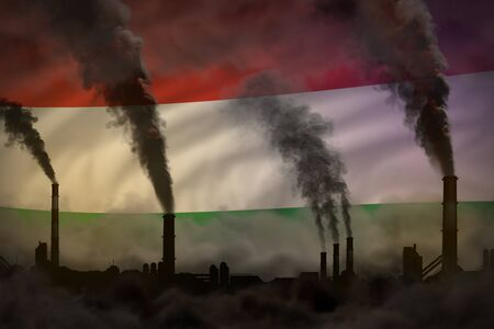 Dark pollution, fight against climate change concept - industrial chimneys heavy smoke on Hungary flag background - industrial 3D illustration Stok Fotoğraf - 134794092