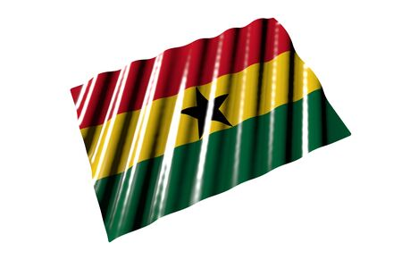 pretty any occasion flag 3d illustration - shining flag of Ghana with big folds lying isolated on white, perspective view Stok Fotoğraf - 134794100