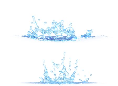 2 side views of cool water splash - 3D illustration, mockup isolated on white - for design purposes