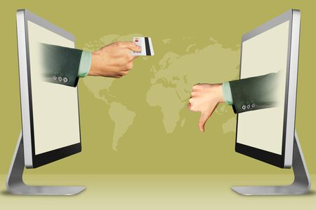 e-commerce concept, hands from laptops. hand with credit card and thumbs down, dislike . 3d illustration Stok Fotoğraf - 134794732