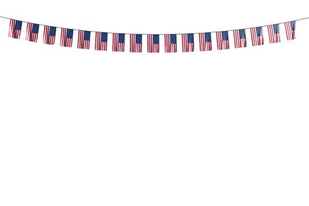 wonderful feast flag 3d illustration  - many USA flags or banners hanging on rope isolated on white