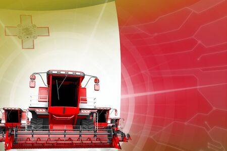 Digital industrial 3D illustration of red modern rural combine harvesters on Malta flag, farming equipment modernisation concept