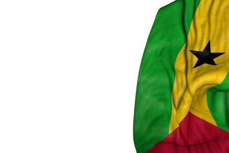 nice holiday flag 3d illustration  - Sao Tome and Principe flag with large folds lying in left side isolated on white