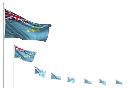 pretty Tuvalu isolated flags placed diagonal, photo with bokeh and place for your text - any occasion flag 3d illustration
