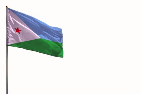 Fluttering Djibouti flag isolated, mockup with the place for your text on white background.
