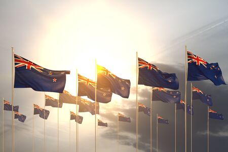 wonderful many New Zealand flags in a row on sunset with empty space for content - any celebration flag 3d illustration Stok Fotoğraf - 134794781