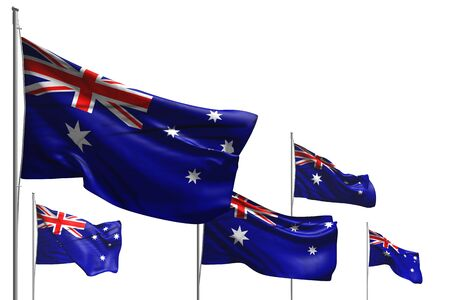nice any celebration flag 3d illustration - five flags of Australia are wave isolated on white Stok Fotoğraf - 134794798