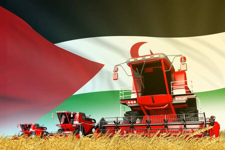 red grain agricultural combine harvester on field with Western Sahara flag background, food industry concept - industrial 3D illustration