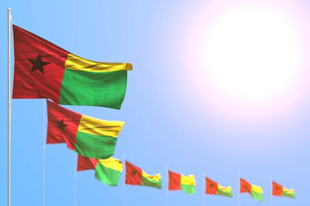 pretty many Guinea-Bissau flags placed diagonal with soft focus and free space for your text - any celebration flag 3d illustration Stok Fotoğraf - 134794843