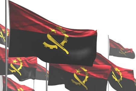 wonderful many Angola flags are waving isolated on white - any celebration flag 3d illustration Stok Fotoğraf - 134852302