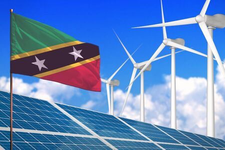 Saint Kitts and Nevis solar and wind energy, renewable energy concept with windmills - renewable energy against global warming - industrial illustration, 3D illustration Stok Fotoğraf - 134852304