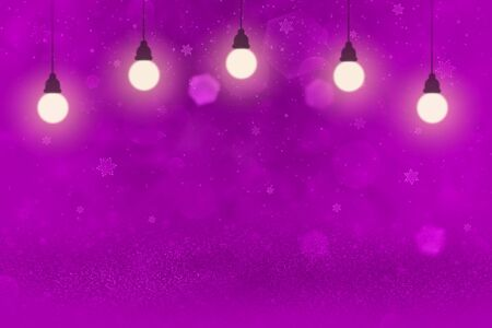 pink cute shiny abstract background glitter lights with light bulbs and falling snow flakes fly defocused bokeh - festival mockup texture with blank space for your content Stok Fotoğraf - 134852319