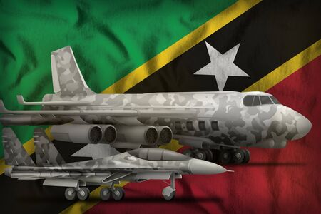air forces with grey camouflage on the Saint Kitts and Nevis flag background. Saint Kitts and Nevis air forces concept. 3d Illustration Stok Fotoğraf - 134852320