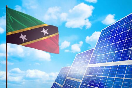 Saint Kitts and Nevis alternative energy, solar energy concept with flag - symbol of fight with global warming - industrial illustration, 3D illustration Stok Fotoğraf - 134852321