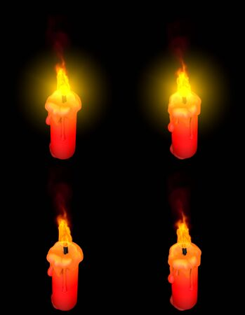 beautiful thin red glowing paraffin candle with and without highlight isolated on black, hanukkah concept - 3D illustration of objects Stok Fotoğraf - 134852322